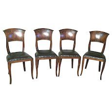 Antique Set Of 4 Biedermeier Dark Fruitwood Leather Seat Chairs