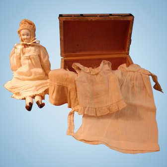 """Biedermeier  with trunk and clothes 9 1/2 """""""