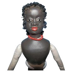 """Hand carved ethnic doll by K. Patterson  for you to dress  10 1/2"""""""