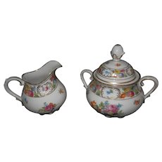 Schumann Dresden Bone China Sugar Bowl +Creamer