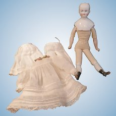 "Wonderful  Biedermeier Doll 9 1/2""  With Extras"