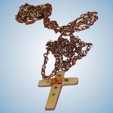 Extremely Tiny Enameled Cross With Chain