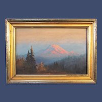 American School / Pacific Northwest , Sunset - Mount Rainier, oil on board