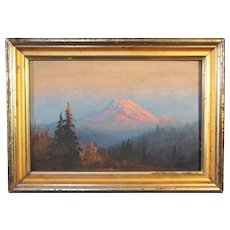 American School / Pacific Northwest , Sunset - Mount Rainier, oil on board