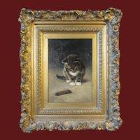 John Henry Dolph, oil painting on board, Kitten and Cigar