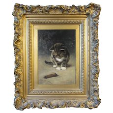 John Henry Dolph, oil painting on board, Kitten and Cigar