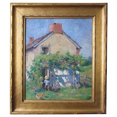 Pennsylvania Academy of the Fine Arts exhibited 1925 painting, An Old Farmhouse In Sunlight