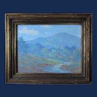 Louis Rowell painting, Tryon Peak, oil on board
