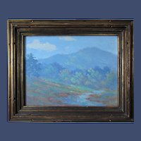 Louis Rowell painting, Tryon Peak, oil on board