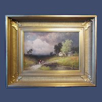 """George Washington Nicholson, oil painting on board, """"The Coming Storm"""", late 19th century"""