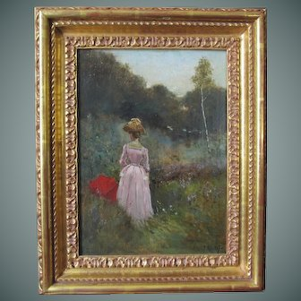 """Paul Rossert painting, """"Woman With A Red Parasol"""", oil on panel"""