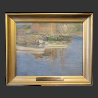 """Sudduth Goff, fine marine oil painting, """"Gray Day In Rockport Harbor"""", 1927"""