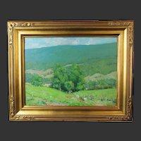 Helen Savier Dumond, Old Lyme School, oil on board of a verdant valley landscape