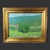 Helen Savier Dumond, Old Lyme School, oil painting on board of a Verdant Valley