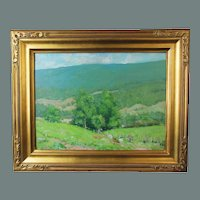 Helen Savier Dumond, Old Lyme School, oil painting on board of a Verdant Valley
