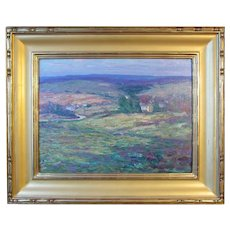 "Harry Leslie Hoffman, Old Lyme School, oil painting on board, ""Pleasant Valley"""