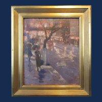 Edmund Marion Ashe, New York Street Scene, oil painting on board