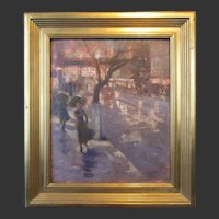 Edmund Marion Ashe, New York Street Scene, oil painting on board