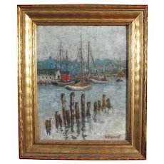 "Edith Dyer Leffingwell painting ""Inner Harbor, Gloucester, Mass."", oil on board"