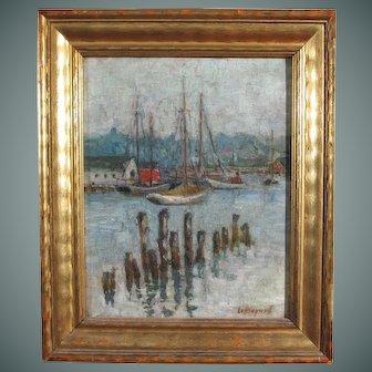 """Edith Dyer Leffingwell painting """"Inner Harbor, Gloucester, Mass."""", oil on board"""