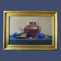 "Robert Douglas Hunter painting, ""Arrangement With A Copper Vessel"", oil on canvas"