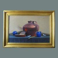 "Robert Douglas Hunter painting, ""Arrangement With A Copper Vessel"", oil on canvas"