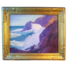 "Constance Cochrane painting, ""Surf At Little Whitehead, Monhegan"", oil on board"