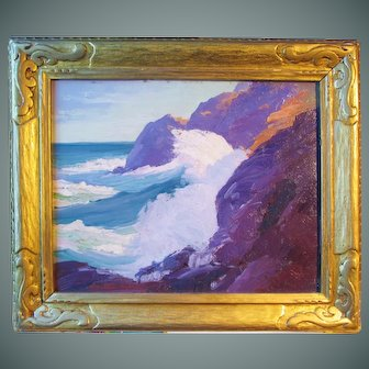 """Constance Cochrane painting, """"Surf At Little Whitehead, Monhegan"""", oil on board"""