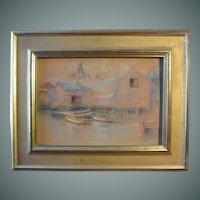 Edward Wilbur Dean Hamilton, pastel on board of Harbor View, early 20th century