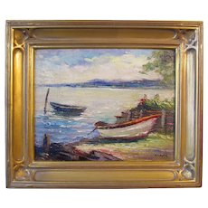 Irene Stry, oil painting, Lake Scene with Boat Launch