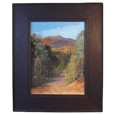 "George Newcomb, ""North Moat From River Road"", White Mountains oil painting on board"