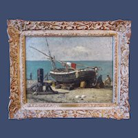 Harry Chase, Fishermen at Yport, oil on canvas mounted on panel