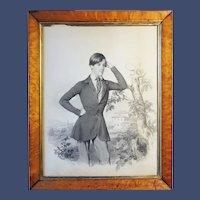 Samuel Friedrich Diez, Portrait of a Young Man, graphite & wash on London Board, 1849