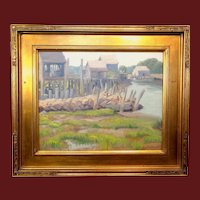 Alling MacKaye Clements, Pier Scene, Ogunquit, Maine, oil on board