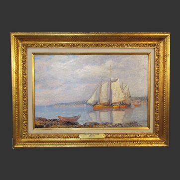 "James Gale Tyler, ""Becalmed"", oil on canvas, about 1910"