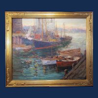 """Frederick Carl Smith, """"Boats In Harbor - Evening"""", exhibited California Art Club 1927"""