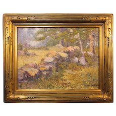 Theophile Schneider, The Old Stone Wall, oil on canvas, abt. 1920's