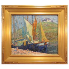 """Frederic William Browne, """"Fishing Boats"""", oil on canvas, 1920s"""