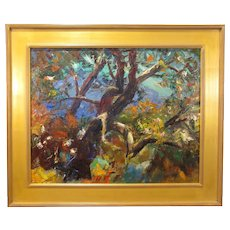 """Walter Alexander Bailey, """"Song of the Woods"""", oil on artist board, mid-20th century"""