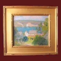 "Kate Brainard Lamb painting, ""Gloucester"", oil on board"
