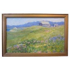 Eva Belle Adams, Tor House, Carmel,  oil on board, 1923