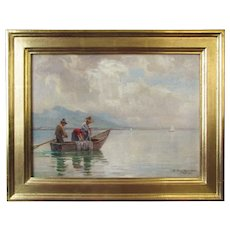 Erwin Kettemann, Fishing On The Chiemsee, oil painting on board