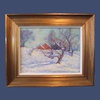 Jessie Goodwin Preston, Winter Landscape with Farmhouse, oil painting on board, 1925