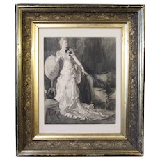Harrison Fisher, pencil, charcoal & ink wash illustration, Elegant Woman in Interior
