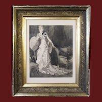 Harrison Fisher, pencil, charcoal & ink wash illustration, Elegant Woman in Interior