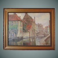 "Harold Dunbar painting, ""Bridge Over The Dyver, Bruges"", oil on panel"