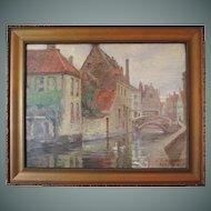 "Harold Dunbar painting, ""Bridge Over The Dyver, Bruges"", oil on panel"