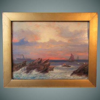 "J. Callingham painting, ""Rocks at Ilfracombe"", 1915"