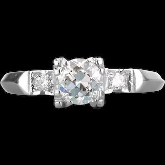 Vintage diamond engagement ring. .52 certified i-j si2 old European cut diamond. 900 Platinum. Art Deco.