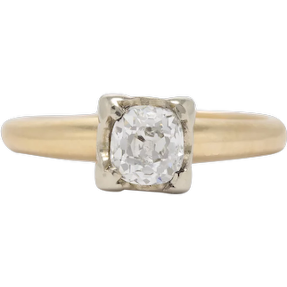 Vintage Diamond Engagement ring .54 ct i-j Si1 Si2 Old Mine cut Diamond. 14kt gold. Art deco 1930s.